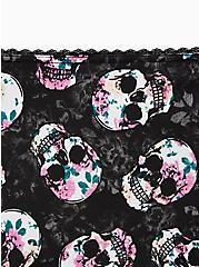 Skull Floral Microfiber Cage Back Hipster Panty, ROSE FILLED SKULLS, alternate