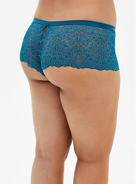 Teal Lace Keyhole Back Cheeky Panty , , alternate