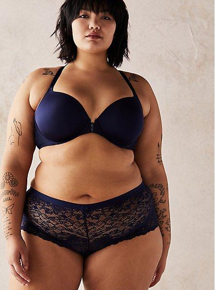 Navy Lace Cheeky Panty , PEACOAT, alternate