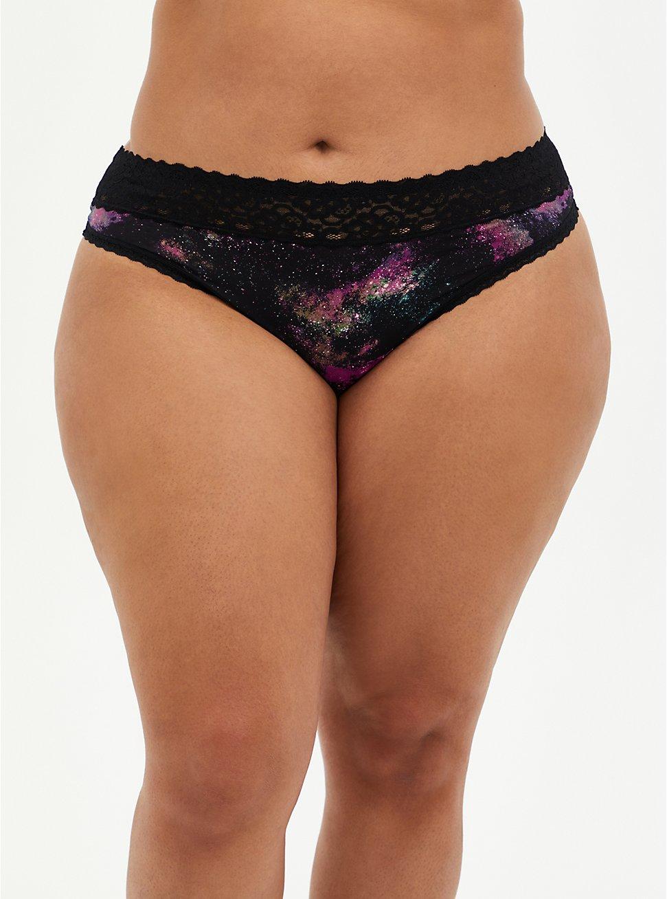 Galaxy Second Skin Thong Panty, BRIGHT GALAXY- BLACK, hi-res