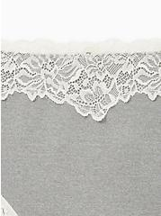 Heather Grey White Lace Microfiber Thong Panty , GREY HEATHER, alternate