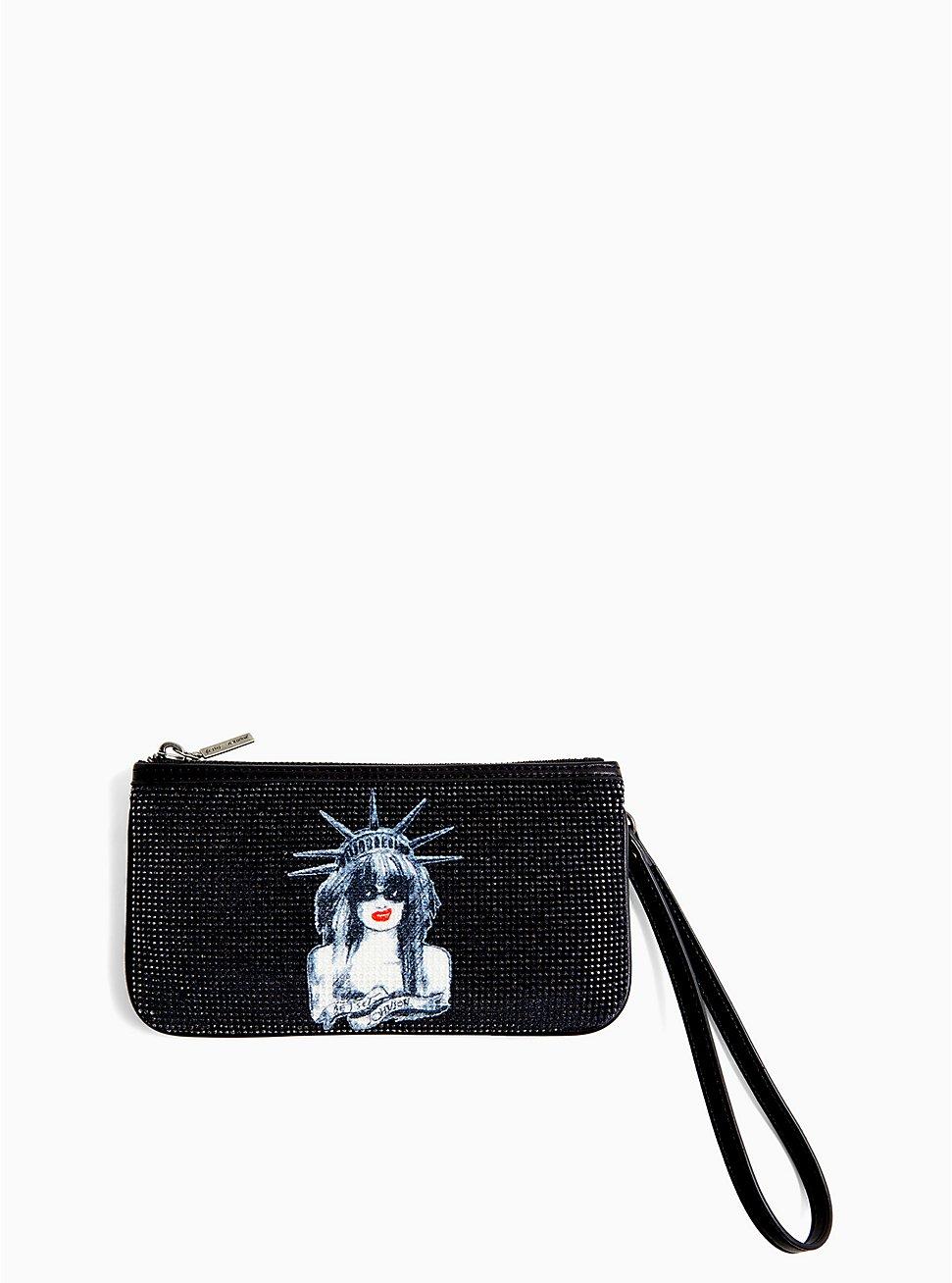 Betsey Johnson Black Faux Leather Sparkle Convertible Bag, , hi-res
