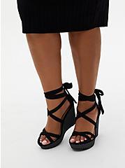 Black & White Polka Dot Ankle Wrap Wedge (WW), BLACK, alternate