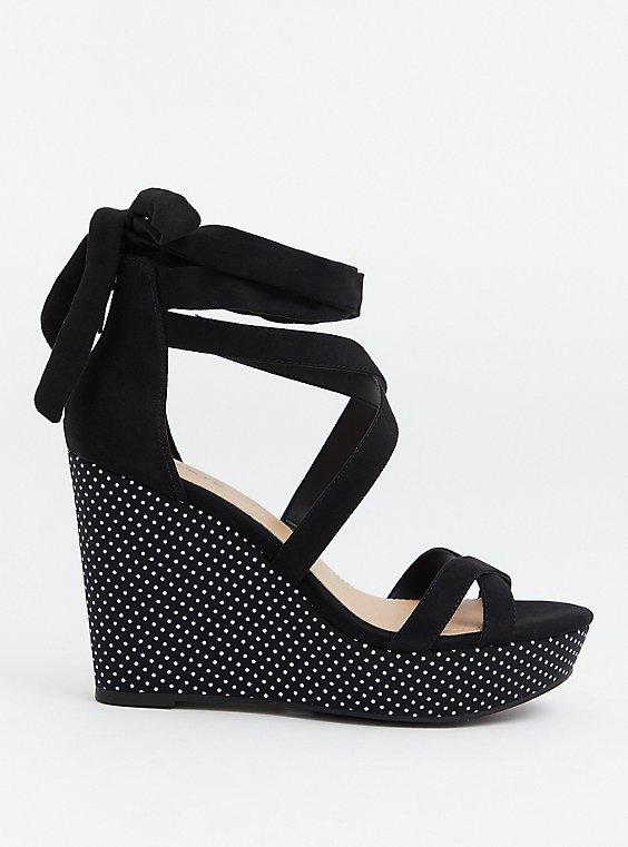 Black & White Polka Dot Ankle Wrap Wedge (WW), BLACK, hi-res