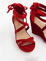 Red Faux Suede Ankle Wrap Wedge (WW), RED, alternate