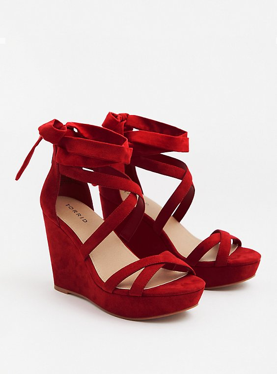 Red Faux Suede Ankle Wrap Wedge (WW), , hi-res