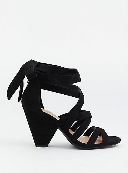 Black Faux Suede Ankle Wrap Cone Heel (WW), BLACK, alternate