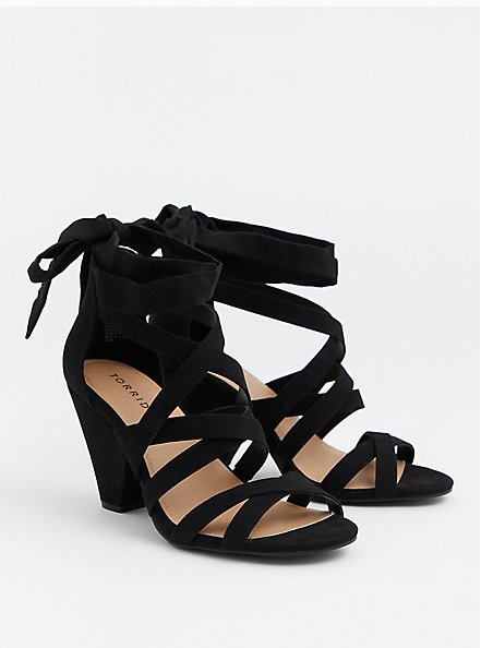 Black Faux Suede Ankle Wrap Cone Heel (WW), BLACK, hi-res