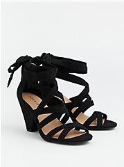 Black Faux Suede Ankle Wrap Cone Heel (WW), BLACK, hi-res