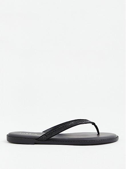 Sunnie - Black Faux Leather Rhinestone Flip Flop (WW), BLACK, alternate
