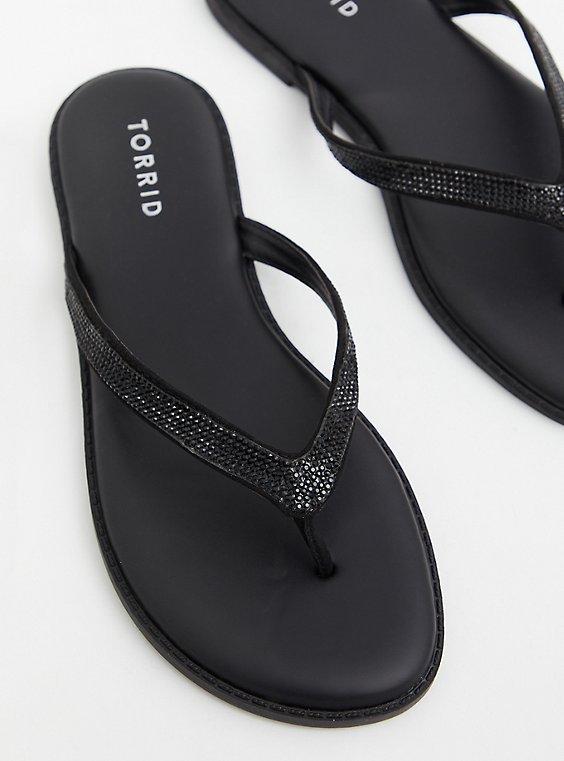 Plus Size  Sunnie - Black Faux Leather Rhinestone Flip Flop (WW), , hi-res