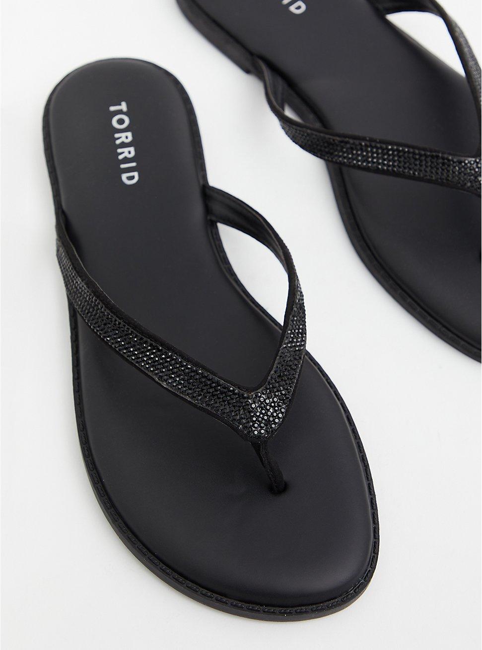 Plus Size  Sunnie - Black Faux Leather Rhinestone Flip Flop (WW), BLACK, hi-res