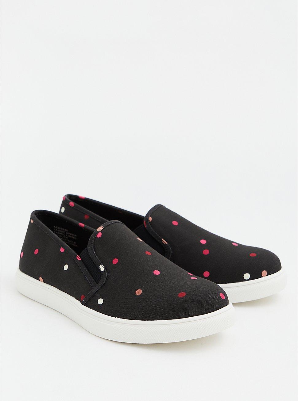 Black Polka Dot Canvas Slip-On Sneaker (WW), BLACK-WHITE DOT, hi-res