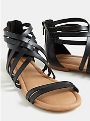 Black Faux Leather Strappy Gladiator Sandal (WW), BLACK, alternate