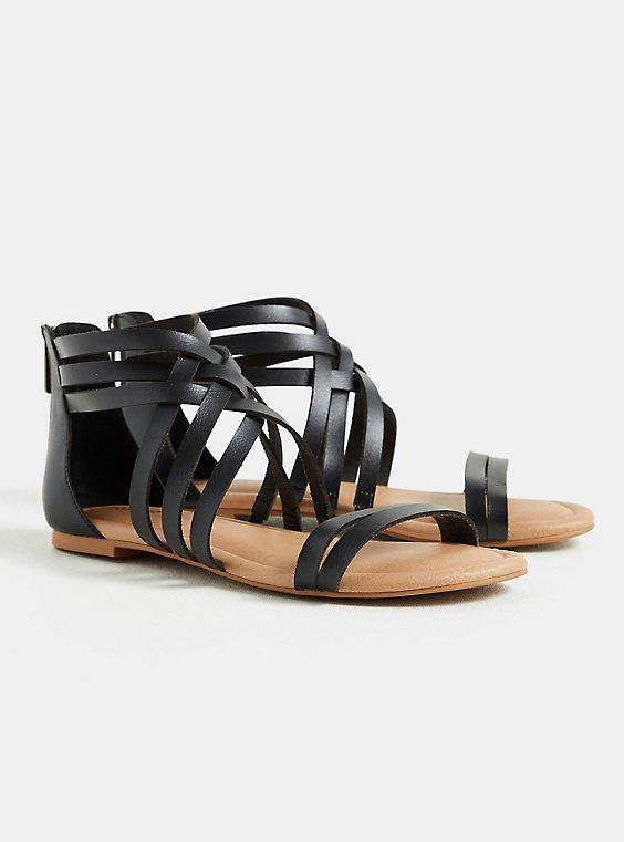 Black Faux Leather Strappy Gladiator Sandal (WW), , hi-res