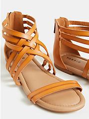 Cognac Faux Leather Strappy Gladiator Sandal (WW), COGNAC, alternate