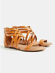 Cognac Faux Leather Strappy Gladiator Sandal (WW), COGNAC, hi-res