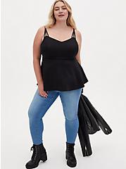 Black Scuba Knit Strappy Peplum Top, DEEP BLACK, alternate
