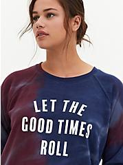 Good Times Burgundy Purple & Navy Tie-Dye Fleece Sweatshirt, WINETASTING, hi-res