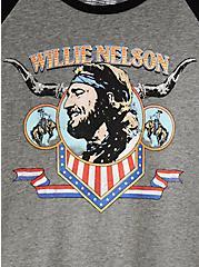 Willie Nelson Classic Fit Raglan Tee - Black , DEEP BLACK, alternate