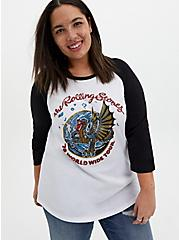 Rolling Stones Classic Fit Raglan Tee - White , BRIGHT WHITE, hi-res