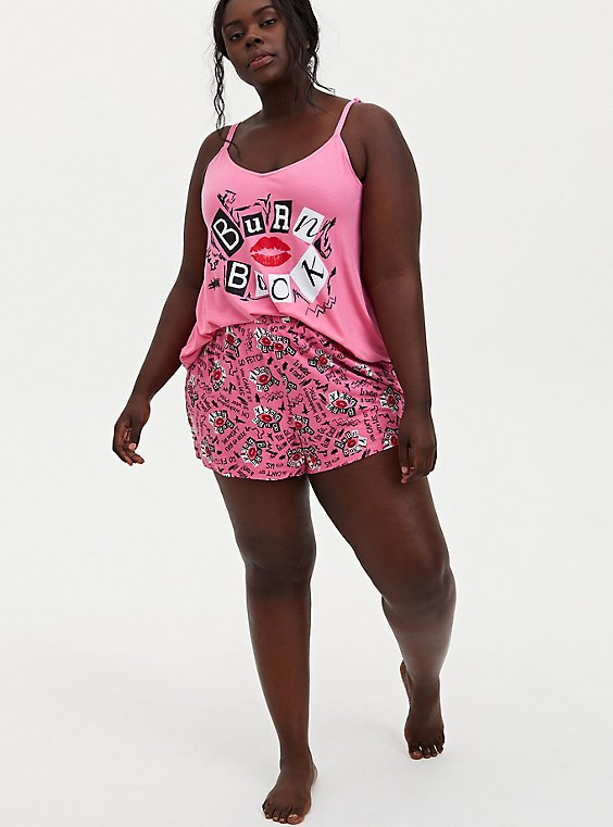 Mean Girls Burn Book Pink Jersey Sleep Short, , hi-res