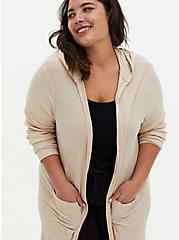 Oatmeal Super Soft Rib Hooded Longline Sleep Robe, OATMEAL, alternate