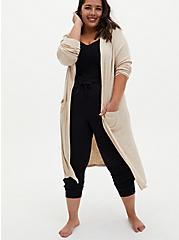 Oatmeal Super Soft Rib Hooded Longline Sleep Robe, OATMEAL, hi-res