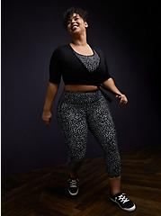 Plus Size Black Reflective Dots Crop Wicking Active Legging with Pockets, DOTS - BLACK, alternate