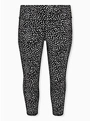 Plus Size Black Reflective Dots Crop Wicking Active Legging with Pockets, DOTS - BLACK, hi-res