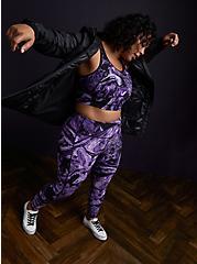 Black & Purple Marble Wicking Longline Sports Bra , OTHER PRINTS, alternate