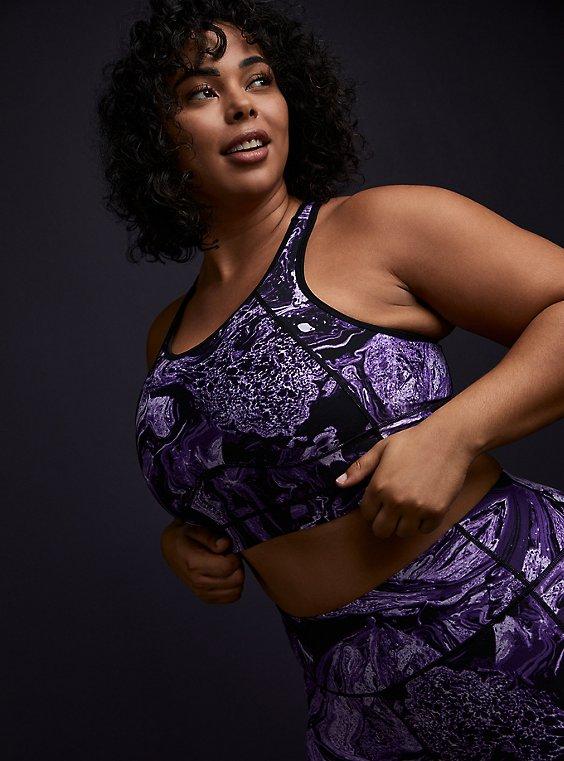 Black & Purple Marble Wicking Longline Sports Bra , , hi-res