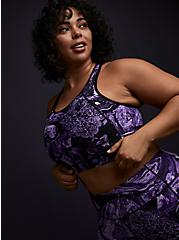 Black & Purple Marble Wicking Longline Sports Bra , OTHER PRINTS, hi-res
