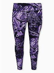 Black & Purple Marble Wicking Active Legging with Pockets, OTHER PRINTS, hi-res