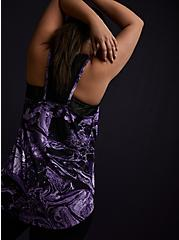 Black & Purple Marble Lace Inset Racerback Wicking Active Tank, TIE DYE, alternate