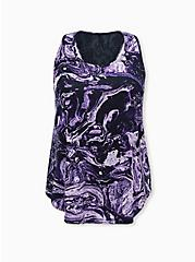 Black & Purple Marble Lace Inset Racerback Wicking Active Tank, TIE DYE, hi-res