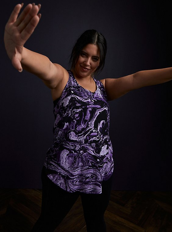 Black & Purple Marble Lace Inset Racerback Wicking Active Tank, , hi-res