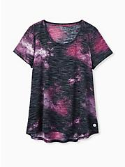 Black & Pink Galaxy Hi-Lo Active Tee, GALAXY - PINK, hi-res