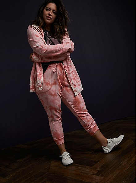 Pink Tie-Dye French Terry Active Zip Hoodie, TIE DYE, alternate