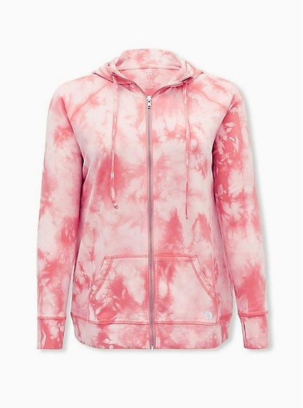 Pink Tie-Dye French Terry Active Zip Hoodie, TIE DYE, hi-res