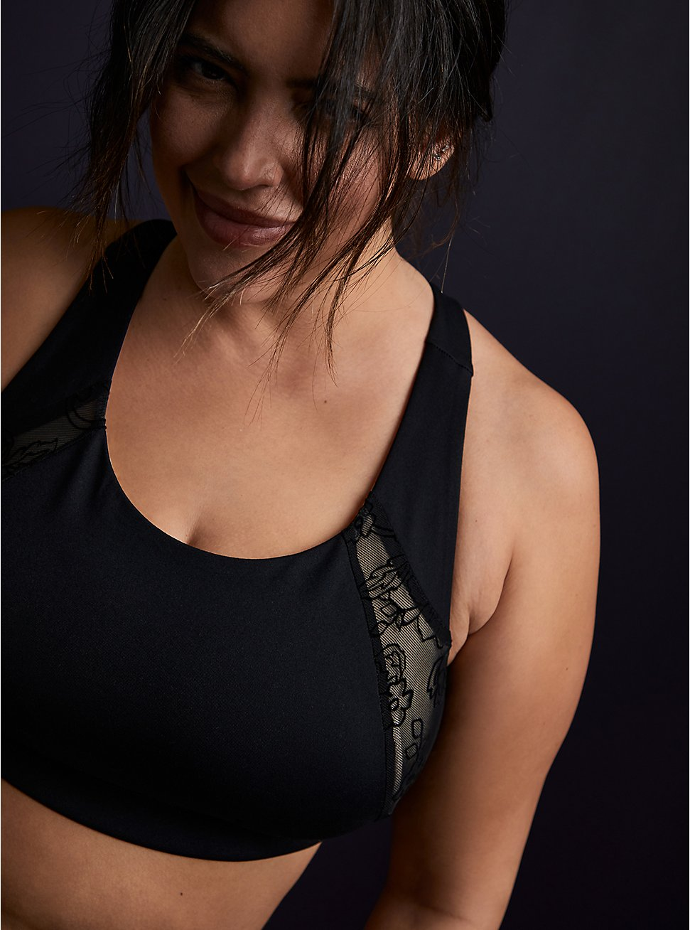 Black Lace Inset Racerback Wicking Active Sports Bra , BLACK, hi-res