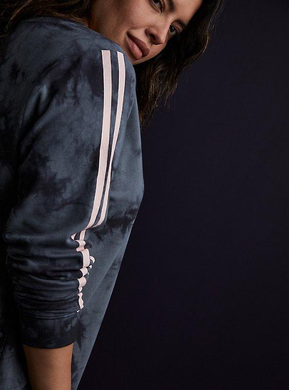 Dark Slate Grey Tie-Dye & Pink Stripe Terry Active Sweatshirt, , hi-res