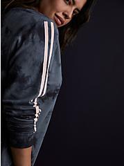Dark Slate Grey Tie-Dye & Pink Stripe Terry Active Sweatshirt, TIE DYE, hi-res