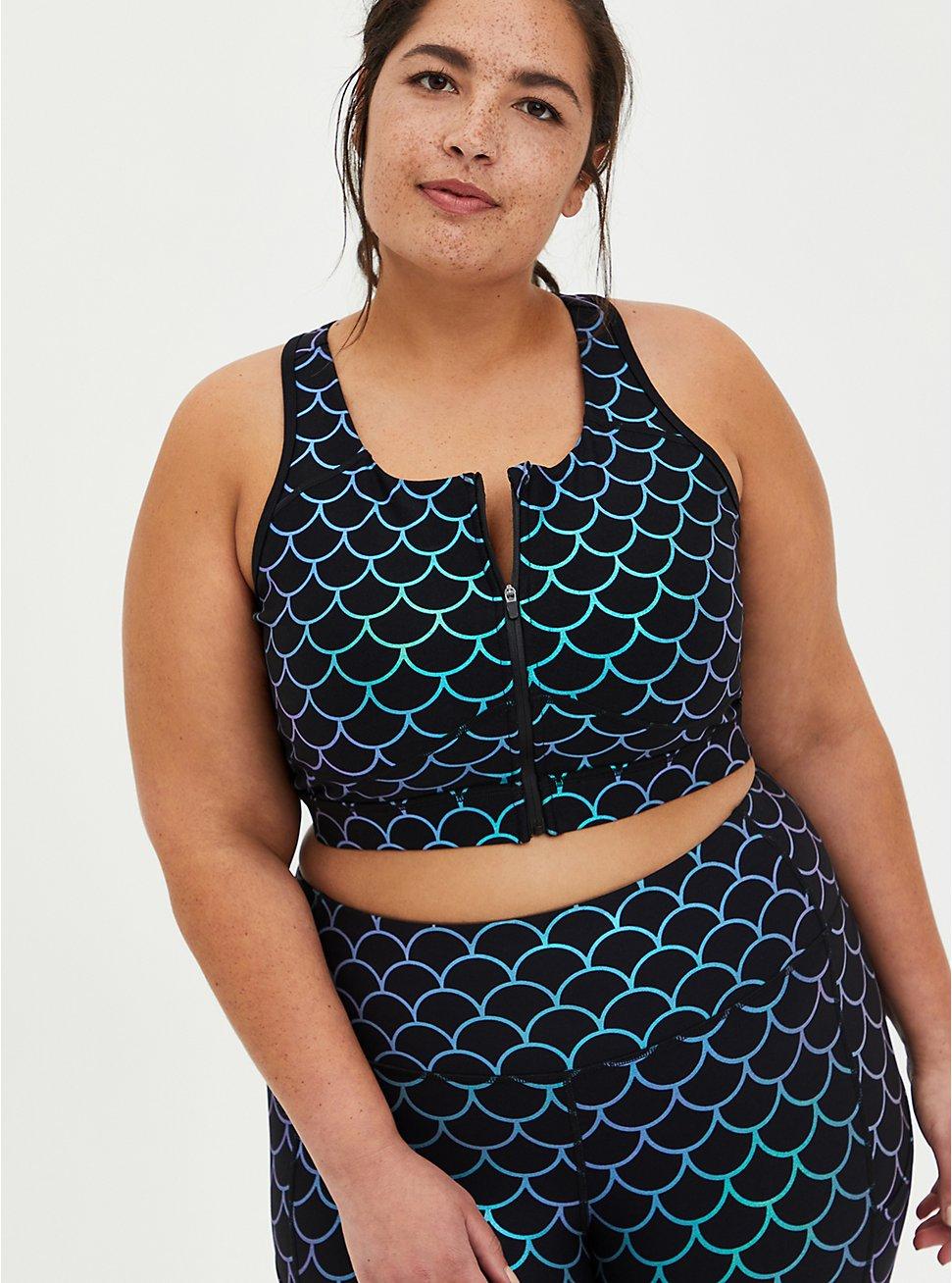 Plus Size Black Mermaid Zip Front Wicking Sports Bra , MERMAID WATERS, hi-res