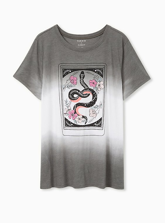 Plus Size Snake Card Slim Fit Crew Tee - Triblend Dip-Dye Grey , , hi-res