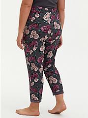Super Soft Black Floral Lace Trim Crop Sleep Pant, MULTI, alternate