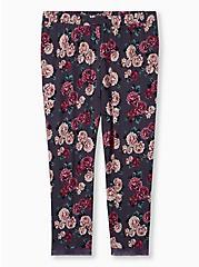 Super Soft Black Floral Lace Trim Crop Sleep Pant, MULTI, hi-res