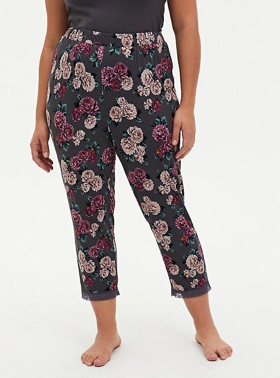 Super Soft Black Floral Lace Trim Crop Sleep Pant, , hi-res