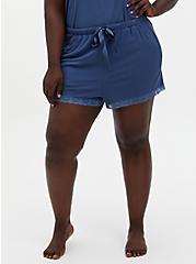 Super Soft Rib Vintage Indigo Lace Trim Sleep Short , BLUE, alternate