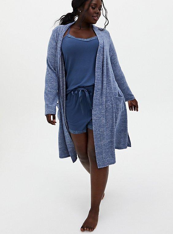 Super Soft Rib Vintage Indigo Lace Trim Sleep Short , BLUE, hi-res